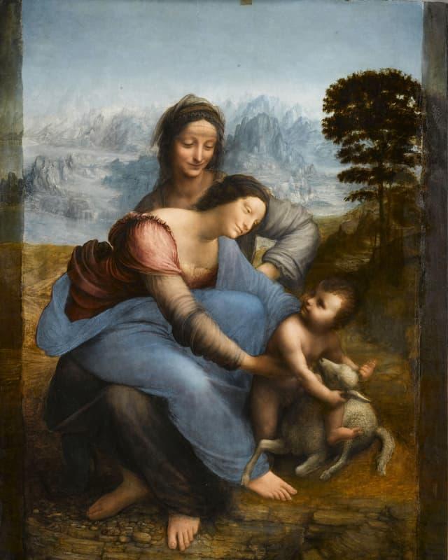 Bild der heiligen Anna, auf deren Schoss sitzt Maria und greift nach Jesus, der mit einem Lamm spielt.