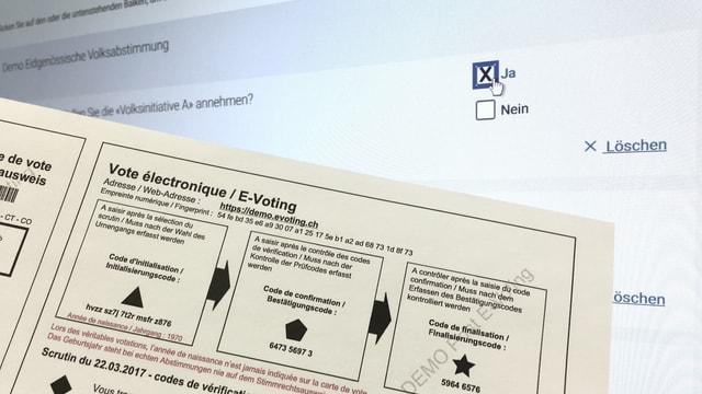 Cedel cun ils codes per votar electronic.