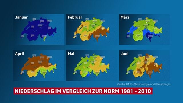6 Schweizer Karten von Januar bis Juni. Die Einfärbung zeigt, wie nass es jeweils war im Vergleich zur langjährigen Norm. Einige Monate scheinen zu trocken zu sein.