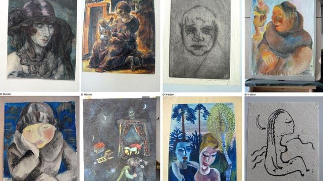 Acht Werke aus Gurlitts Kunstfund, bei denen begründeter Verdacht auf Raubkunst besteht.
