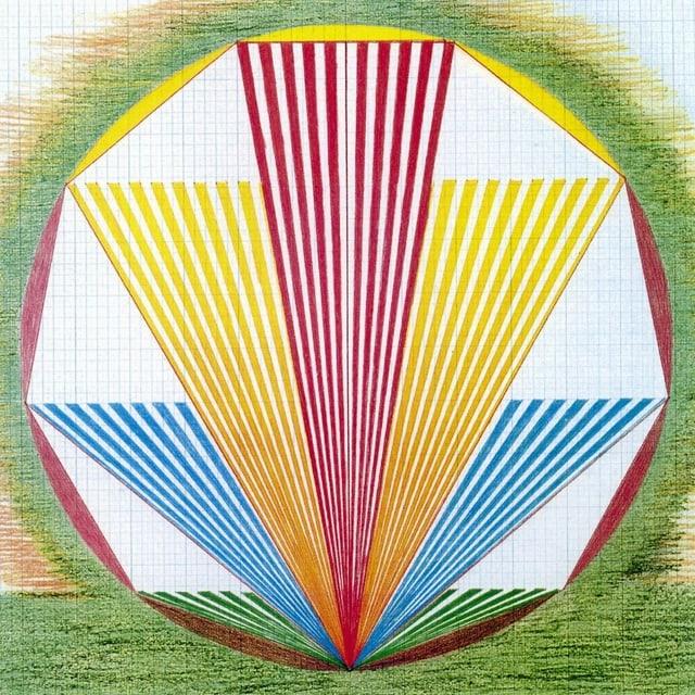 Bild mit gelben, roten und blauen Strahlen in einem Kreis. Darum grün.