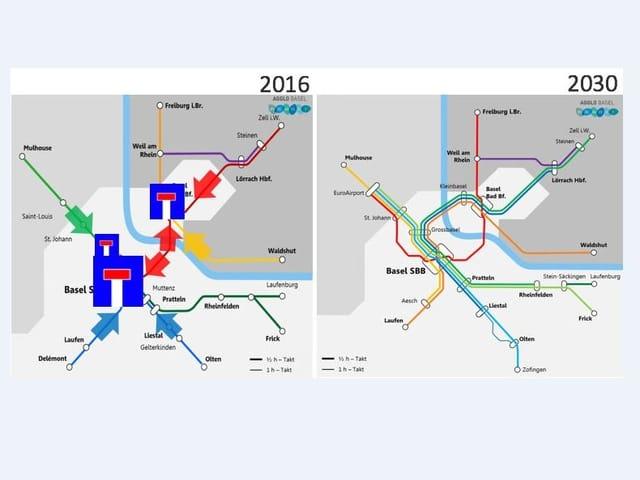 Zwei Grafiken zum Verkehrsfluss mit und ohne Herzstück.