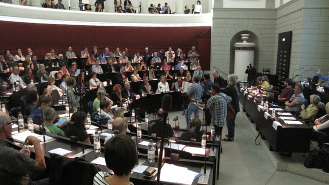Die Versammlung der «Landgemeinde» gegen die Sparpolitik im Luzerner Kantonsratssaal.
