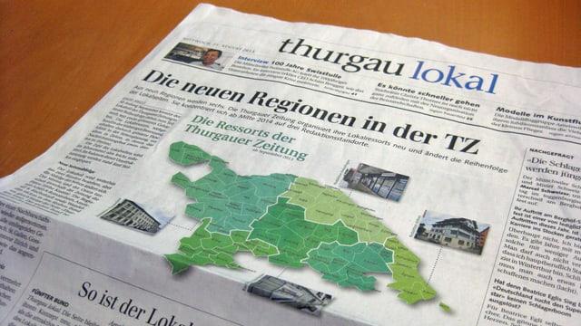 Titelseite des Bundes «thurgau lokal» in der Thurgauer Zeitung vom Mittwoch.