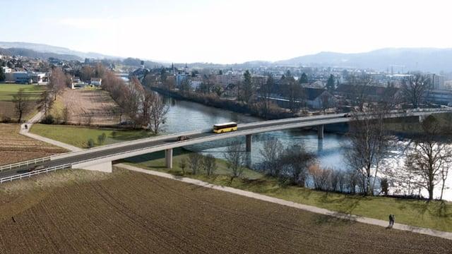Visualisierung der geplanten Reussbrücke