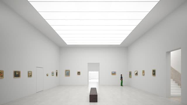 Die Visualisierung zeigt einen hellen, grossen, neuen Ausstellungsraum.
