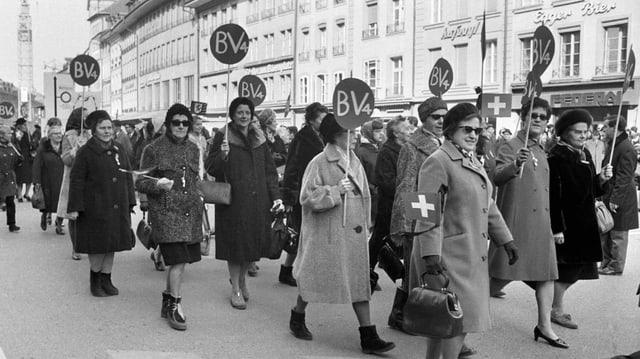 Emilie Lieberherr am «Marsch auf Bern» 1969.