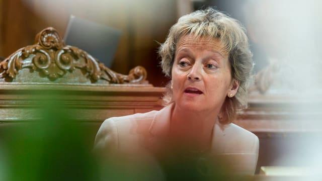 Die Finanzministerin bei einer Debatte im Ständerat.