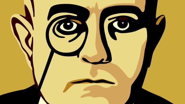 Grafisch gestaltetes Bild eines Mannes mit Monokel.