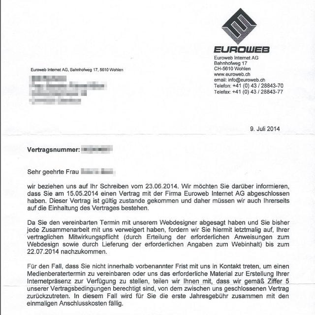 Brief von Euroweb.
