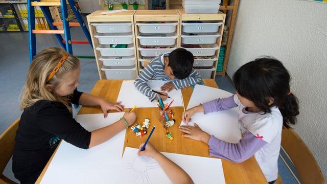 Drei Kinder malen an einem Tisch.