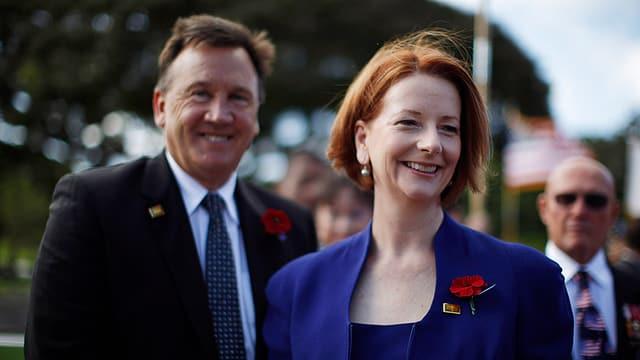Die australische Premierministerin Julia Gillard mit ihrem Partner Tim Mathieson.