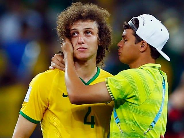 David Luiz musste auch schon ziemlich fest brüelen.
