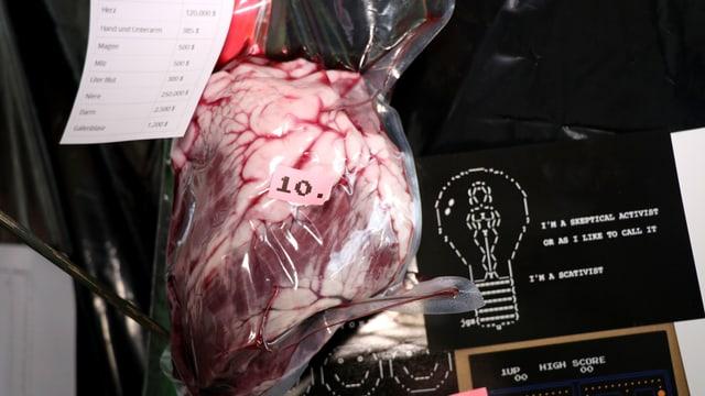 Ein Rinderherz in Plastik verschweisst.