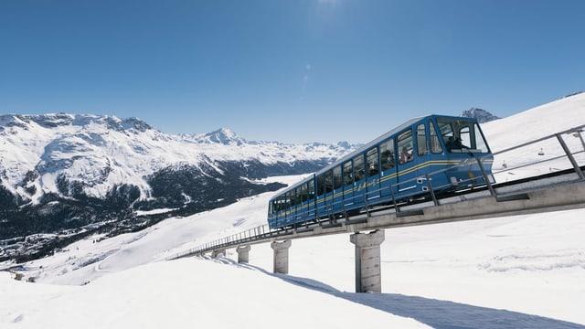 La funiculara Chantarella - in trenin blau - sin ina punt en viadi ensi, davos ves'ins giu enfin la val. Scena d'enviern.