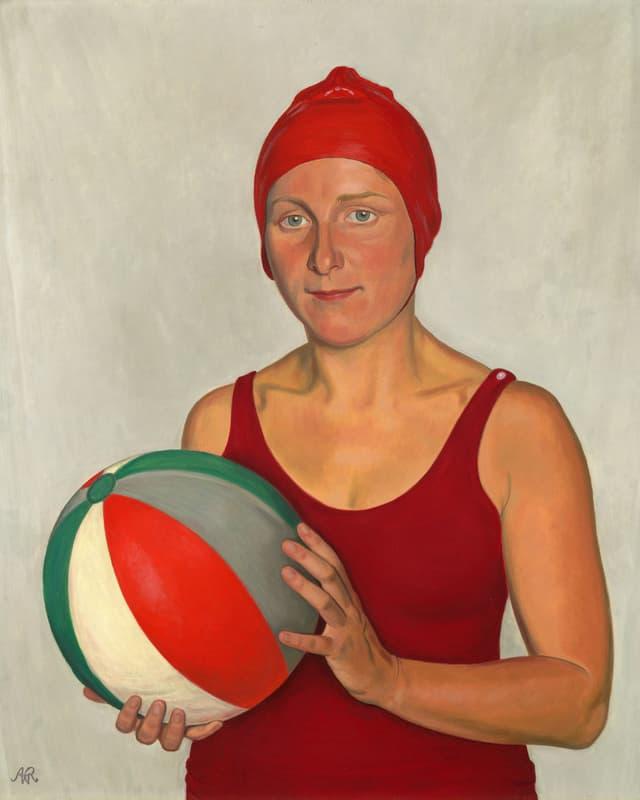 Gemälde einer Frau im Badeanzug, die einen Wasserball hält.