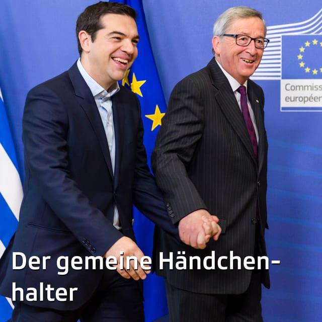 «Komm, ich zeig' dir mal einen echten Hasen!» - Auch bei einem Besuch des griechischen Premiers Alexis Tsipras 2015 gibt der EU-Kommissionspräsident vollen Körpereinsatz.