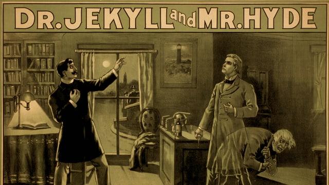 Zu sehen sind die realitätsnah gezeichneten literarischen Figuren Dr.Jekyll und Mr.Hyde.