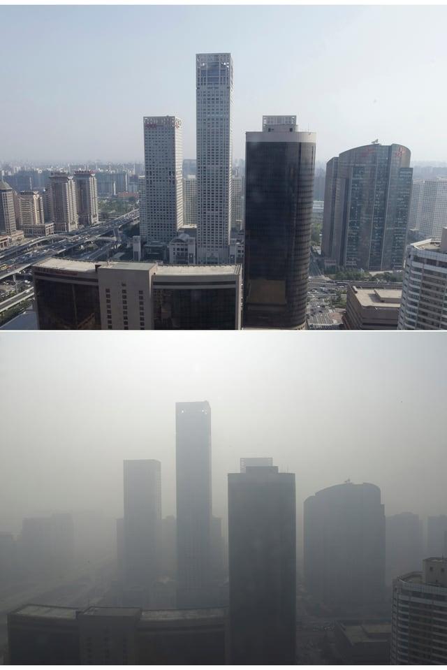 Oben Peking mit klarer Luft, unten Peking im Smog.