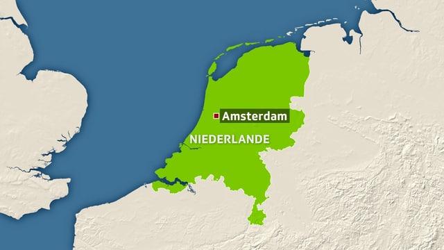 Karte der Niederlande, Amsterdam in der Mitte markiert.