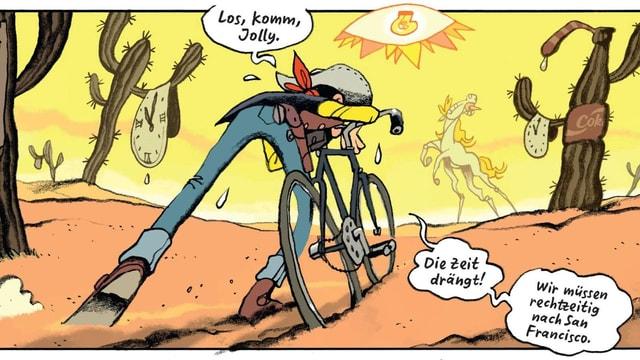 Ein gezeichneter Cowboy schiebt ein Fahrrad durch die heisse Wüste. Er tropft vor Schweiss.