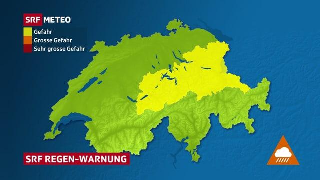 Regenwarnkarte mit Gefahr von Starkregen von der Zentralschweiz bis in die östlichen Voralpen.