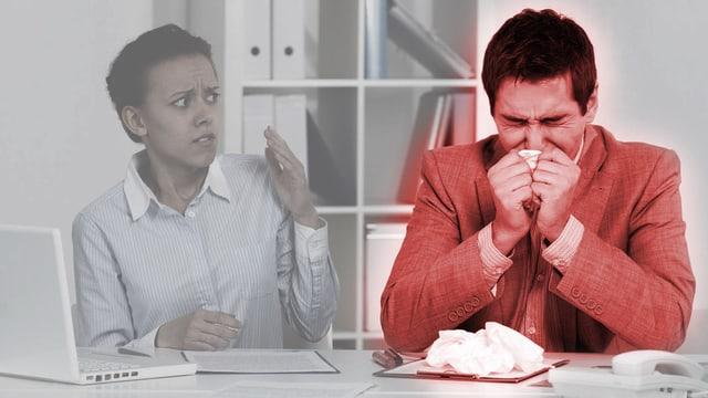 Büroszene: Kranker Mann schneuzt sich die Nase, während sich eine Arbeitskollegin entsetzt abwendet