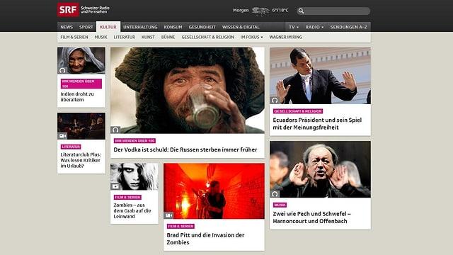 Die SRF-Webseite (Kultur), wie auf einer Pinwand sieht man grosse Bilder mit Titeln, die Hintergrundartikel.