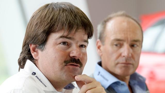 Männer-Chef Stauffer (vorne) und Alpin-Direktor Huber.