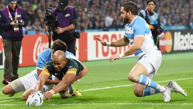 Szene aus dem Rugby-Spiel Südafrika - Argentinien