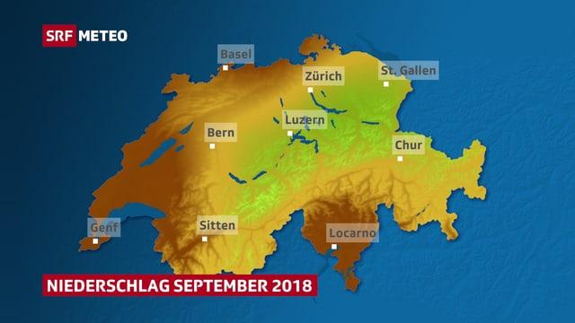 Schweizerkarte mit Niederschlagsmenge im September 2018.