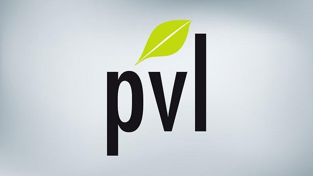 Logo PVL cun ina feglia veda sur il P.