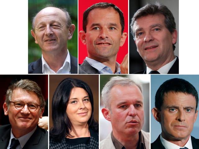 Porträts der sieben Kandiaten, oben drei, unten vier.