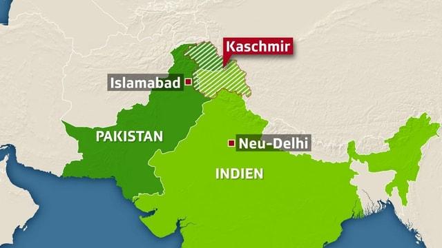 Karte Pakistans und Indiens mit Markierung auf der Region Kaschmir.