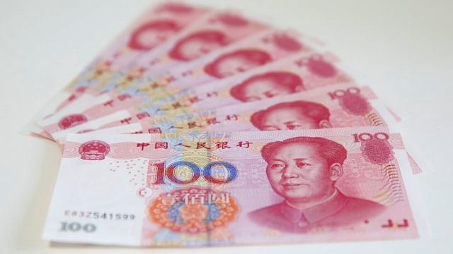 Renminbi-Noten als Fächer ausgelegt