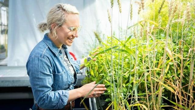 Eine Frau steht in einem Labor neben einem Pflanzenbeet
