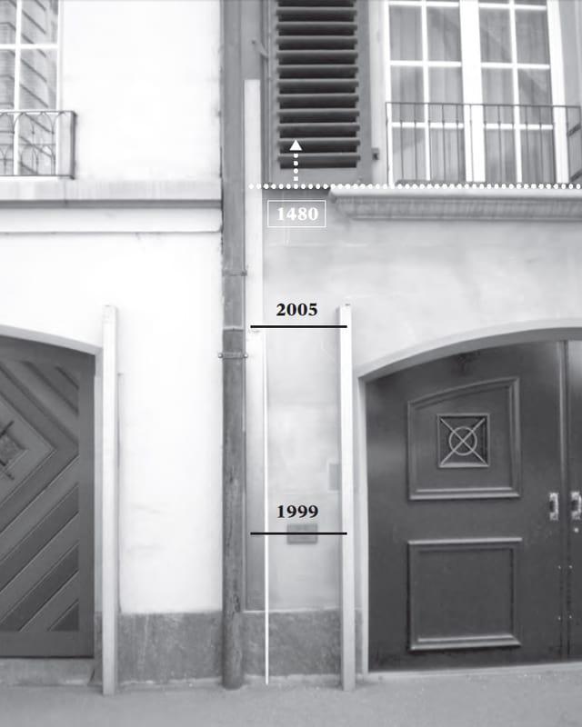Tafel der Pegelstände der grossen Hochwasser im Berner Mattequartier.
