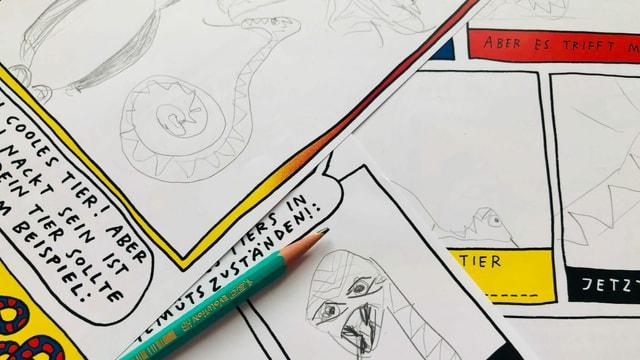 Skizzen mit einer Comic-Schlange