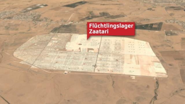 Luftbild des schachbrettartig angelegten Flüchtlingslagers Zaatari.
