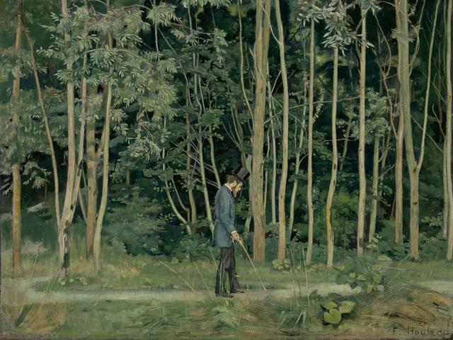 Ferdinand Hodler: Spaziergänger im Wald (1885)