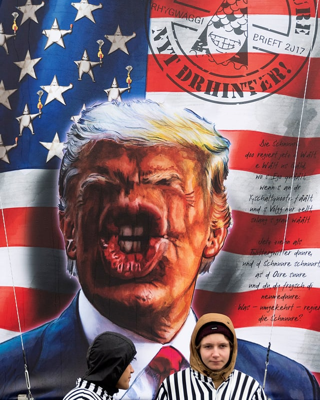 Grosse Klappe, keine Nase: Donald Trump an der Basler Fasnacht.