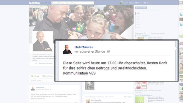Die Facebook-Seite von Bundespräsident Ueli Maurer.