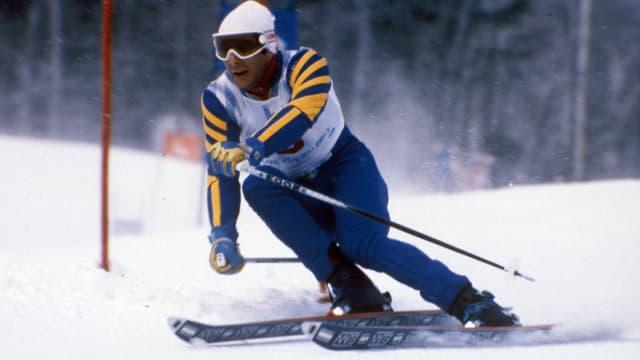 Ingemar Stenmark 1980 beim Olympia-Slalom von Lake Placid.