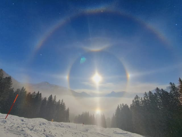 Halo mit 2 Nebensonnen, einem schwachen Horizontalkreis, einer Untersonne, einer unteren Lichtsäule, dem oberen Berührungsbogen, dem konkaven Parrybogen, dem 46°-Halo, im Ansatz dem Zirkumzenitlabogen und 46°-Berührungsbogen.