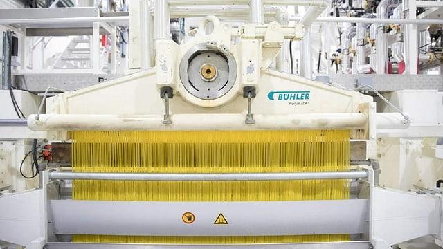 Eine grosse Maschine stellt gleichzeitig tausende von Kilos Spaghetti her.