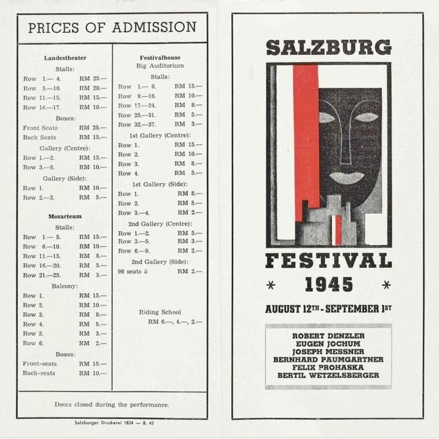 Preisliste und Flyer der Salzburger Festspiele 1945.