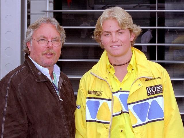 Sohn Nico mit Vater Keke Rosberg im Jahr 2002.