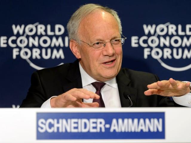 Bundesrat Johann Schneider-Ammann während einer Rede am Weltwirtschaftsforum.