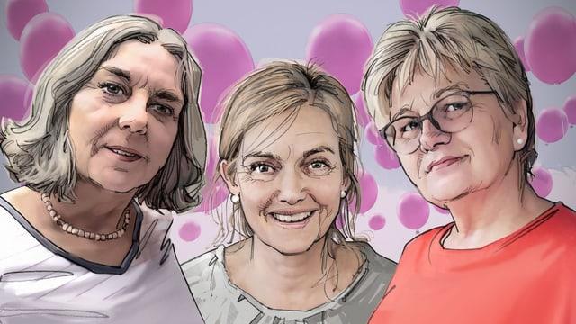 illustration: drei Frauen schauen nach vorne. Im Hintergrund sind pinke Ballone.