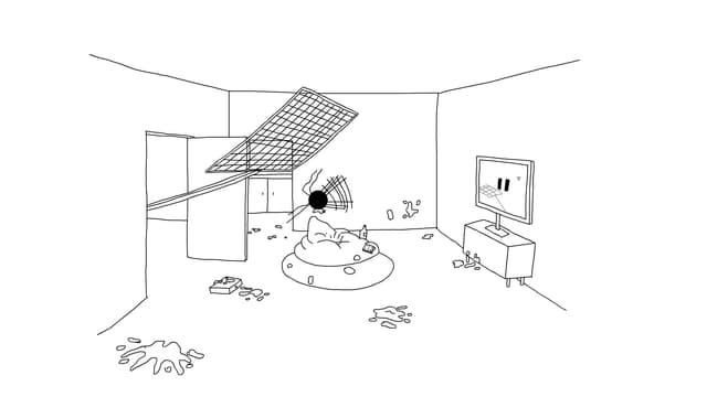 Eine Comiczeichnung, die eine riesige Fliegenklatsche in einem dreckigen Wohnzimmer zeigt.